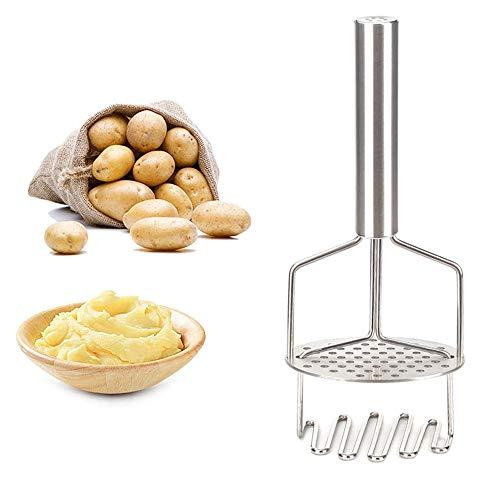 LWZko Kartoffelstampfer, Kartoffel Ricer Masher, Kartoffelstampfer Küche, Zweischichtiger Rutschfester Edelstahlgriff Kartoffelstampfer für Maischen Von Obst, Gemüse, Babynahrung