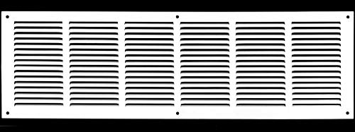 30'w X 8'h Steel Return Air Grilles - Sidewall and Ceiling - HVAC Duct Cover - White [Outer Dimensions: 31.75'w X 9.75'h]