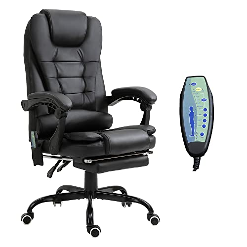 Vinsetto 7-Point Vibrating Massage Office Chair High Back Executive Recliner with Lumbar Support, Footrest, Reclining Back, Adjustable Height, Black