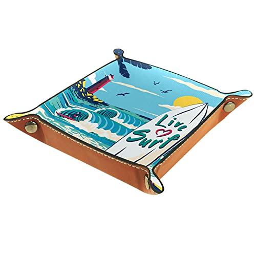 Patrón de tabla de surf para llaves, teléfono, monedas, billetera, relojes, etc. Caja de bandeja de valet