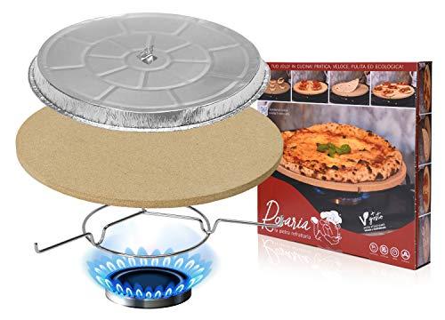 Rosaria® la Pietra Refrattaria, per Riscaldare e cuocere Pizza, Piadina e Tigelle su Fornello di casa e in Forno - Ø 32 cm