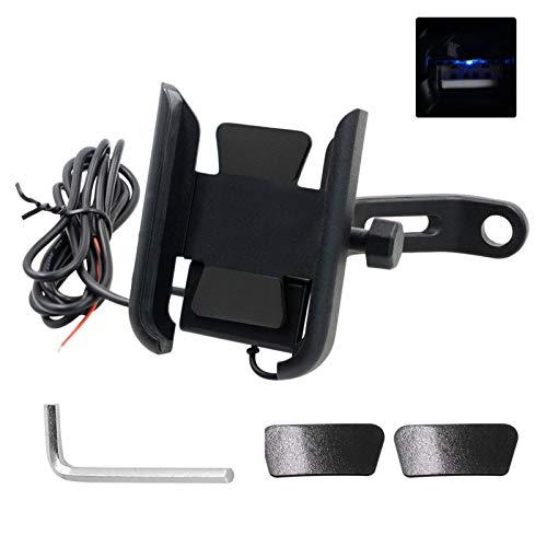 ( 2 en 1 ) cargador de instalación de teléfono de motocicleta impermeable USB 5V espejo retrovisor soporte de teléfono celular cargador fuerte anti - temblor 360° soporte de teléfono móvil
