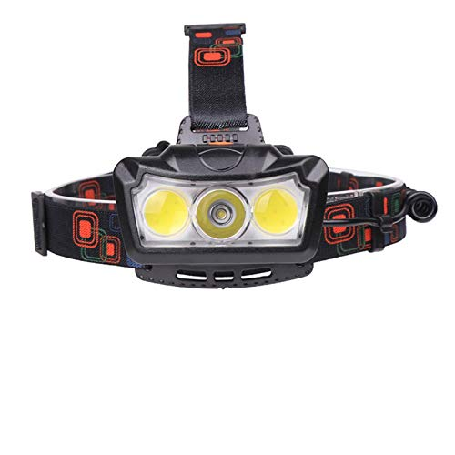 RongWang Linterna Frontal LED XH L2 Carga USB Faros Delanteros para Montar Linterna Camping Al Aire Libre Senderismo Luz LED COB Portátil Uso 18650 Batería
