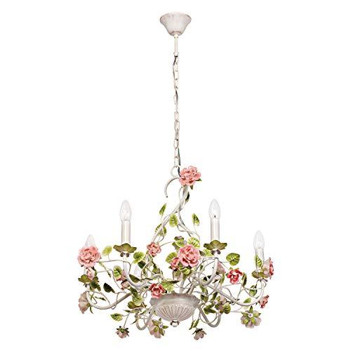 MW-Light 421013806 Lámpara de Araña Estilo Clásico Flor Metal Color Blanco Plafones en Forma de Velas Para Salón Comedor Dormitorio Adornado Con Flores Cerámicas 75Cm 6 x 40W E14