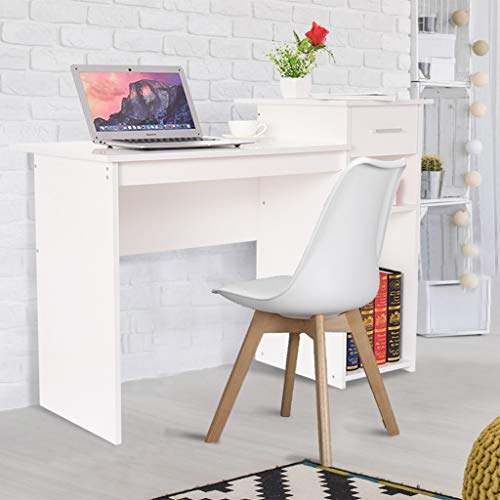 Daopwlkom Computer Desk Study Writing Table for Home Office Laptop Table Modern Simple Study Desk with Two Shelves Storage Drawer (White)