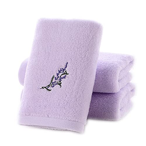 Pidada Hand Towels 3-Pack 100% Cotton Highly Absorbent Super Soft Embroidered Lavender Pattern Hand Towel Set -13 x 28 Inch (Purple)