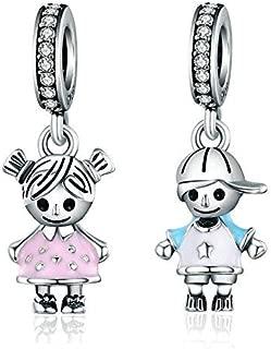 compatibile con braccialetti e collane per charm Ciondolo per donna in autentico argento sterling 925 con cristalli e scarpetta blu a tacco alto