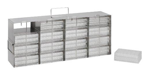 Heathrow Scientific HD28624 - Sistema di stoccaggio per piastre di dosaggio/provette PCR per congelatore verticale, 4 x 4, in acciaio INOX, 541 x 217 x 230 mm
