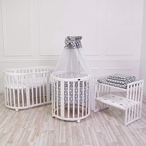 ComfortBaby SmartGrow 7 in 1 Komplett 12-teilig Babyausstattung Set Weiß Grau, Kinderbett, Laufgitter, Beistellbett, Bettwäsche Set, Matratze, Wickeltisch, Stühle und Kindertisch