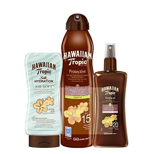 Hawaiian Tropic - Tanning Acceleration Kit - Includes SPF 20 Sunscreen Oil Spray + Argan SPF 15 Oil Mist + After Sun Silk Hydration