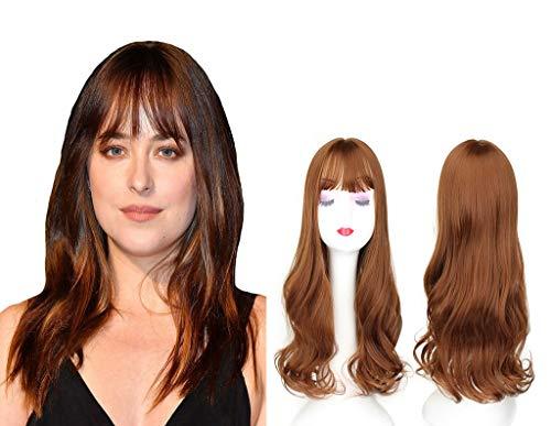 Extension de cheveux ondulés avec frange plate 55,9 cm pour femme avec cheveux clairsemés Marron clair