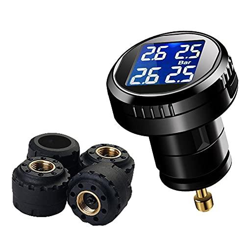 Medidor presion neumaticos Sistema de monitoreo de presión de neumático inalámbrico (TPMS), Pantalla LED, instalación y configuración Simple, con 4 sensores de TPMS externos
