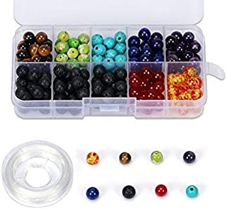 Vesungimey 200pcs 8mm colorful natural chakra beads and Black Lava Rock Stone Essential Oil Diffuser bead for jewelry making Bracelet Necklace pendant DIY