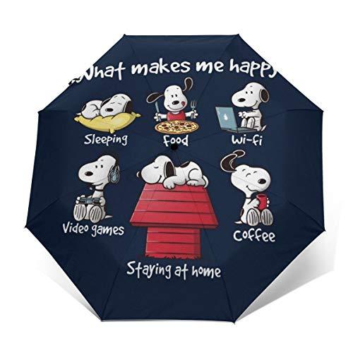 Snoopy Staying at Home Makes Me Happy Winddichter kompakter Automatischer Faltschirm Automatisch faltbar Reise-Sonnenschirm