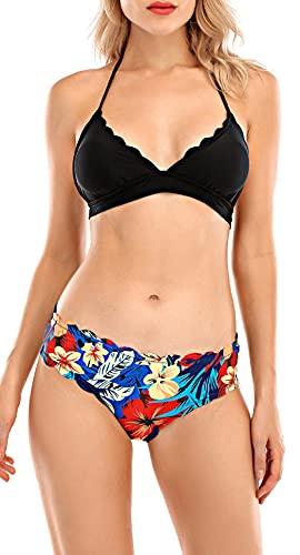 UMIPUBO Conjunto de Bikini Mujer Traje de Baño de Dos Piezas Borde Ondulado Dividido con Cuello Halter Ropa de Playa Ropa de Baño Tops y Braguitas (Negro, L)