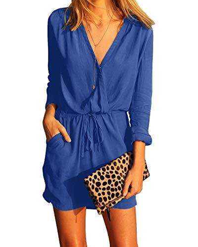 YOINS Sommerkeid Damen Kurz Jumpsuit Elegant V-Ausschnitt Sexy Kleid Langarm Overall Einteiler Damen mit Bindegürtel Kleid-knallblau M