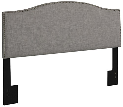 Modern Arch Upholstered Padded Gray Linen Fabric Headboard with Metal Nailheads -Queen