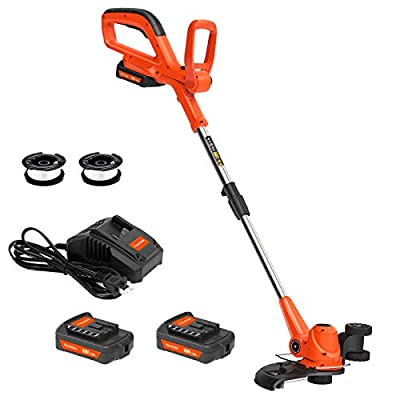 [Updated]PAXCESS Cordless String Trimmer/Edger, Detachable Weed Eater with 2pcs 20V Lithium-ion Batteries,1pcs Quick Charger, Weed Whacker with 2pcs Trimmer Spools, Powerful&Lightweight, No Hassle