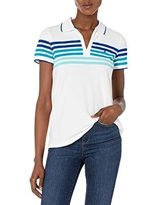 Nautica Women's Classic Fit Striped V-Neck Collar Stretch Cotton Polo Shirt, Bright Cobalt, Medium