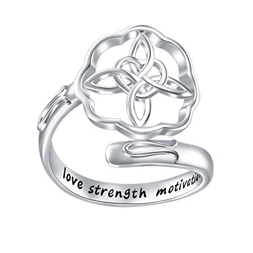 Inspirational Jewelry Sterling Silver Engraved Love Strength Motivation Celtic Cross Wrap Ring Graduation Gift for Her,Size 7