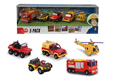 Dickie Toys Feuerwehrmann Sam 5-er Geschenkset, Spielzeugautos mit Freilauf aus Metall, Jupiter mit Licht & Sound, Länge: ca. 5 cm bis 8 cm
