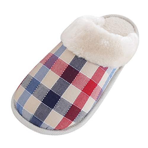 LQQSTORE Damen Hausschuhe Plaid Winter Plüsch Pantoffeln rutschfest Indoor Schlafzimmer Warm Schuhe (Blau, 39)