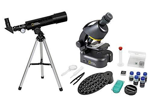 National Geographic Teleskop und Mikroskop Set für Kinder und Einsteiger inklusive Smartphone Kamera Adapter und umfangreichem Zubehör