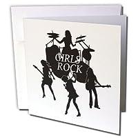 フローレン音楽–シルエットGirls Band with Girls Rock inホワイト–グリーティングカード Set of 6 Greeting Cards