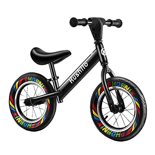 Bicicleta Equilibrio Bicicleta de Equilibrio Negra para Niños Grandes 2 4 6 8 9 y 10 Años, Sin Pedal Bicicleta de Entrenamiento de Equilibrio para Caminar Asiento Ajustable, Neumático a Prueba de Fuga