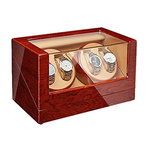 FFAN Caja de Enrollado de Reloj 4 para Relojes automáticos Acabado de Piano de Madera Motor silencioso Ajuste de Modo de rotación 4 Ajuste de Relojes Lady Man Good Life