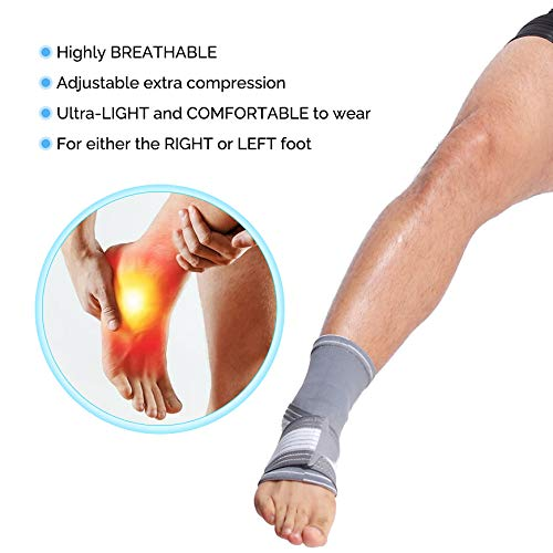 Neotech Care Ankle Brace Support (1 Unit) - Elastic & Breathable Fabric - Adjustable Compression Strap - for Men, Women, Youth - Left or Right Foot - Grey Color (Size S)