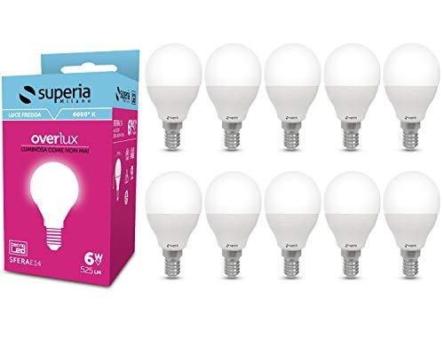 Superia Lampadina LED E14 Sfera, 6W (Equivalenti 40W), Luce Fredda 6000K, 525 lumen, SE14F, Pacco da 10