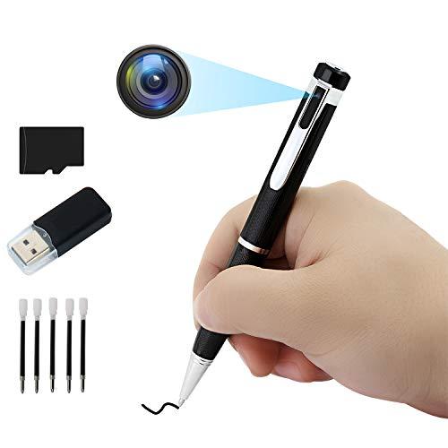 Versteckte Kamera Stift Kamera 1080p Real HD Cover Objektiv Pen Cam, kostenlose 16 GB Micro SD eingebaut und Micro SD Reader & 5 Tinte füllt Inc, Voice und Bild Executive Multifunktions-DVR MEHRWEG