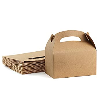 ValBox Treat Boxes 30 Pack Brown Kraft Paper Gable Gift Boxes - Goodies Favor Box for Kids  Birthday Party Wedding Baby Shower 6.2 x 3.5 x 3.5 Inches