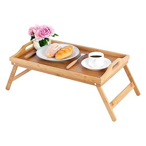Cocoarm Bambus Bett Tablett Frühstück am Bett Frühstückstablett Serviertablett Betttisch Beistelltisch Knietisch Serviertablett Laptop Schreibtisch mit klappbaren Beinen Griffen 22,5 x 50 x 30 cm