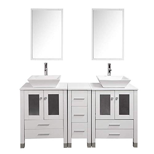 KINGRAN 60' Modern Bathroom Vanity MDF Cabinet Combo with Ceramic Vessel Sink with Faucet and Pop Up Drain Set,Mirror Included,White Color