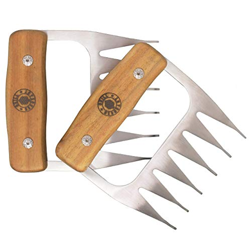 Grill Sergeant Metal Meat Claws, BBQ Pork Shredder, Shark Teeth, Acacia Wood, 304 Stainless Steel Forks, Large Rivets, Best for Shredding, Pulling, Lifting, Serving, Chicken, Turkey