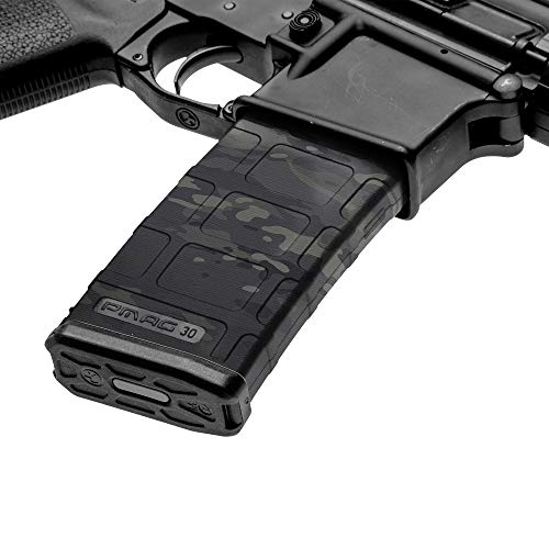 GunSkins AR-15 Mag Skins - 3 Pack - Premium Vinyl Mag Wraps - Easy to Install and Fits 30rd Magazines - 100% Waterproof Non-Reflective Matte Finish - Made in USA - GS Military OCP Black