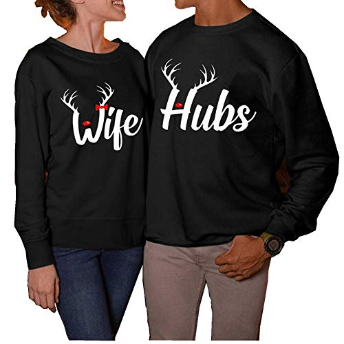 INLLADDY Partnershirt Pärchen Hoodie Set Wife Hubs Pullover Weihnachten Couple Partner Shirt Langarm Pulli Herren L