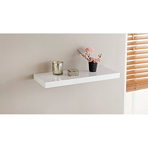 spot on dealz High Gloss Wall Floating Shelf/Shelves White/Black/Grey Display Storage Unit (White, 60CM)