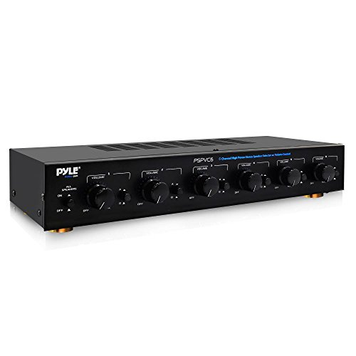 Premium New and Improved 6 Zone Channel Speaker Switch Selector Volume Control Switch Box Hub Distribution Box for Multi Channel High Powered Amplifier Control 6 Pairs of Speakers - Pyle PSPVC6 Black