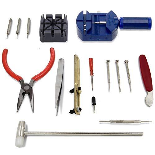MMOBIEL Kit Reparación Joyería para Reloj 16 Pzas con Removedor Perno de unión Correa, Llave para Abrir Cubierta Trasera