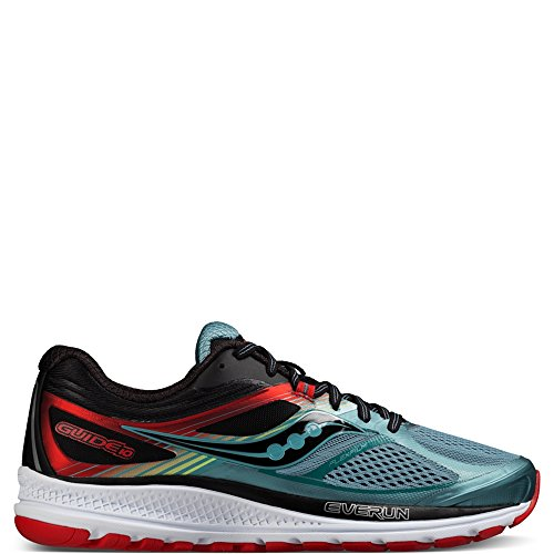 Saucony Men's Guide 10 Running Shoe, Blue/Black/Red, 9 D(M) US