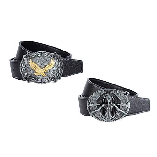 Sharplace 2pcs Männer Ledergürtel mit Adler Muster Schnalle Herren Mode Kleidung Schmuck Zubehör
