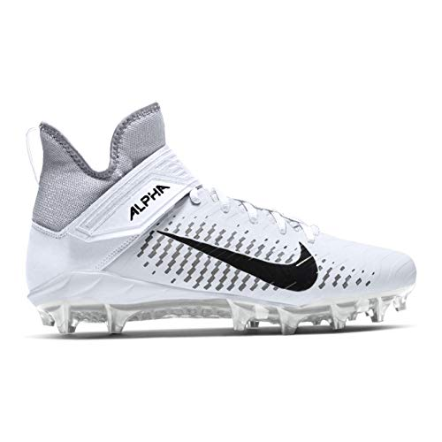 Nike Men's Alpha Menace Pro 2 Mid Football Cleat White/Black/Wolf Grey Size 9.5 M US