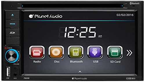 Planet Audio P9628B Car DVD Player - Double Din, Bluetooth Audio and Hands-Free Calling, 6.2 Inch LCD Touchscreen Monitor, MP3 Player, CD, DVD, WMA, USB, SD, AUX In, AM/FM Radio Receiver
