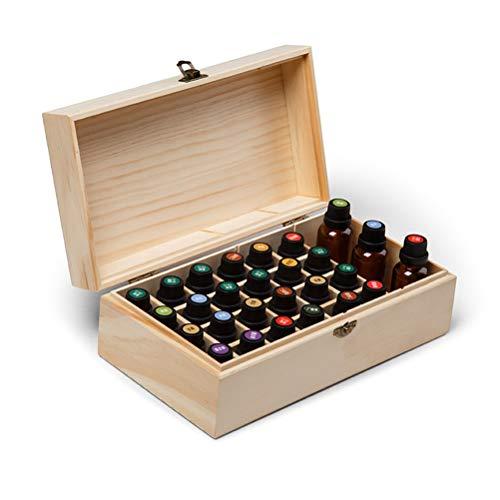 Caja de Aceites Esenciales, Caja de Almacenamiento de Organizador de Aceites Esenciales de Aromaterapia, Caja de Transporte de Aceite Esencial de Madera De Pino Natural, Contiene 25 Botellas