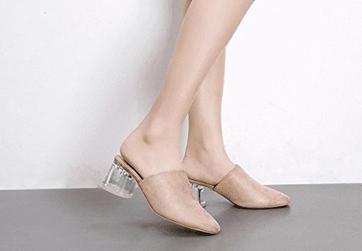 AWXJX été Tongs Femme Chaussures D'épaisseur avec Baotou imperméables Talons Hauts Transparent