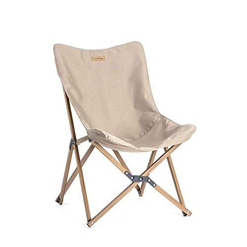 AOIWE Klappstuhl aus Holz Holz Angelstuhl können for Büro Camping Licht Holzmaserung Nap Stuhl Liegestuhl Angeln Klappstuhl im Freien-Khaki Außensitz Camping Picknick (Color : Khaki)