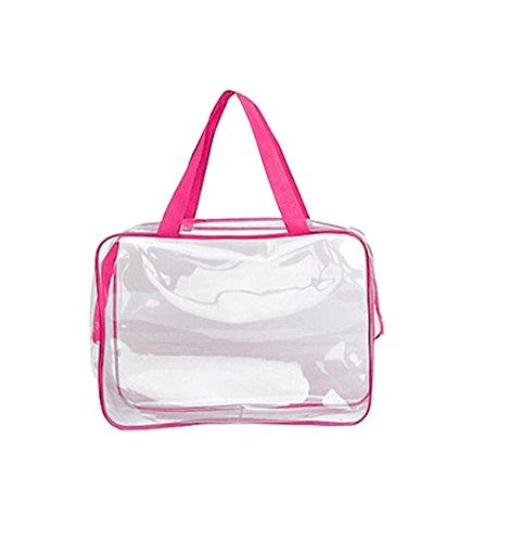 Dosige Kosmetiktasche Transparent Wasserdicht und Staubdicht Kulturtasche Handtasche Make-Up Taschen für Outdoor Reise und Bad 30 * 10 * 22cm Rosa Grenze
